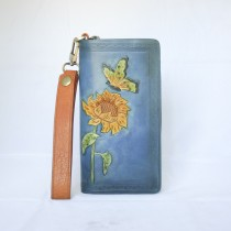 Hand Carved Clutch WZ 021 Sunflower and Butterfly